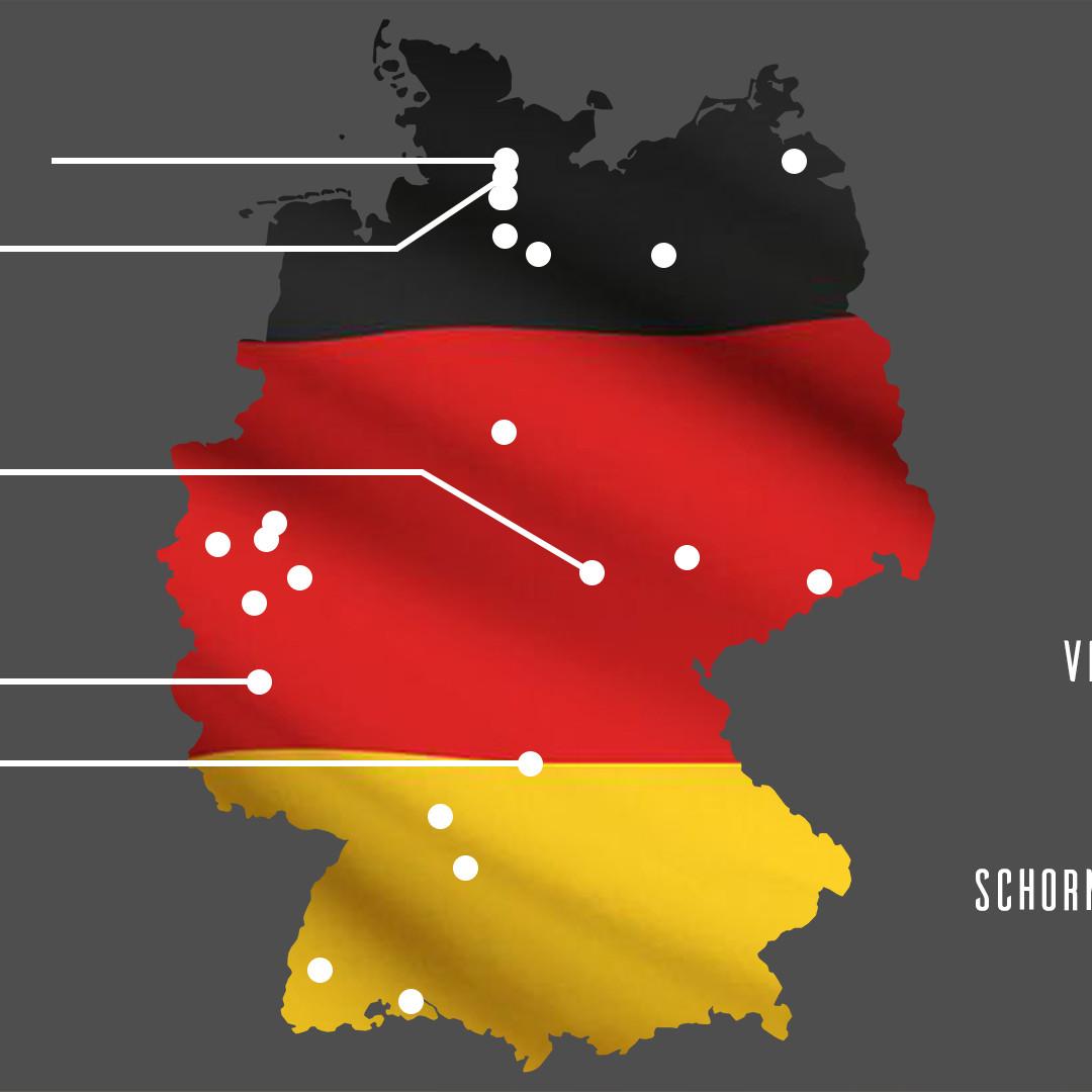 Deutschland Karte mit Pais Teams